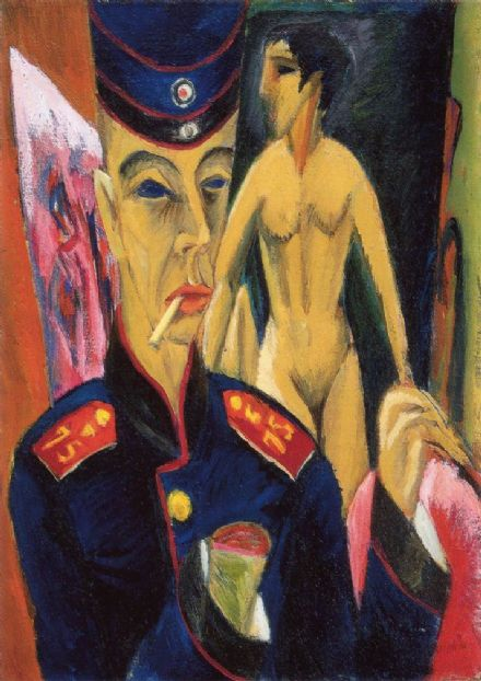 Kirchner, Ernst Ludwig: Self Portrait as a Soldier. Fine Art Print/Poster. Sizes: A4/A3/A2/A1 (001399)